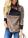 AlvaQ Womens Juniors Hoodies Sweaters Plus Size Casual Winter Fall Oversized Soft Fluffy Fleece Sweatshirt Pullover Pockets Outwear Tops Brown Medium