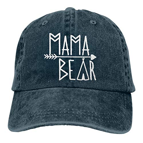 OASCUVER Mama Bear Denim Hat Adjustable Female Stretch Baseball Hats ()