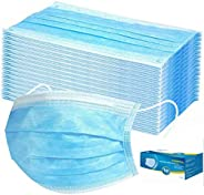 50 Pieces Disposable 3-ply Protection Face Cover Dust-proof Dust Waterproof Cover, High Filtration and Ventila