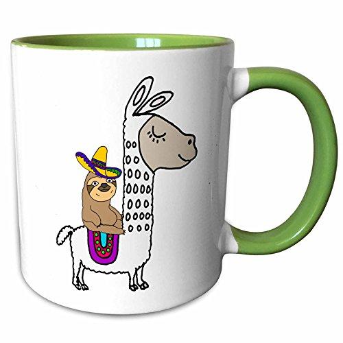 - 3dRose 273492_7 Funny Cute Sloth with Sombrero Riding White Llama Cartoon, Green Mug 11 oz