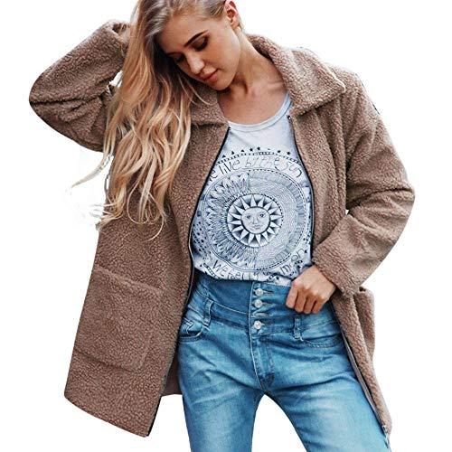 Clearance! HOSOME Women Wool Coat Warm Artificial Zipper Jacket Winter Parka Outerwear (Patagonia Long Sleeve Polo Shirt)
