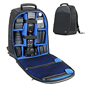 DSLR Camera Backpack / SLR Camera Backpack by USA Gear w/ Laptop Compartment , Front Loading Access , Rain Cover , Large Lens Storage & Weather Resistant Bottom - For Canon, Nikon, Sony, Pentax & More