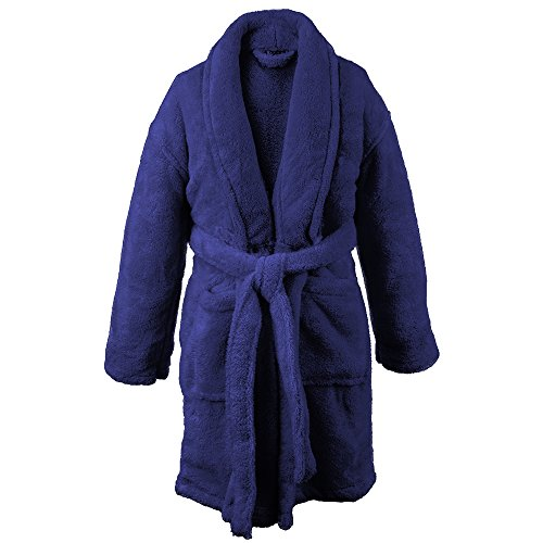BC BARE COTTON Kids Microfiber Fleece Shawl Robe - Girls - Navy Blue - Small