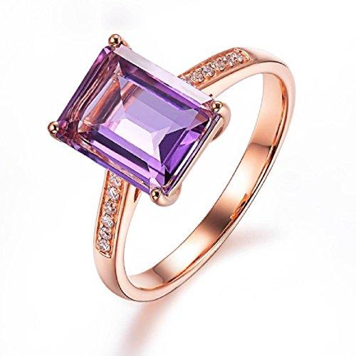 Eudola Purple Topaz Gold Plating Ring, Elegant Silver-Plated Ring...