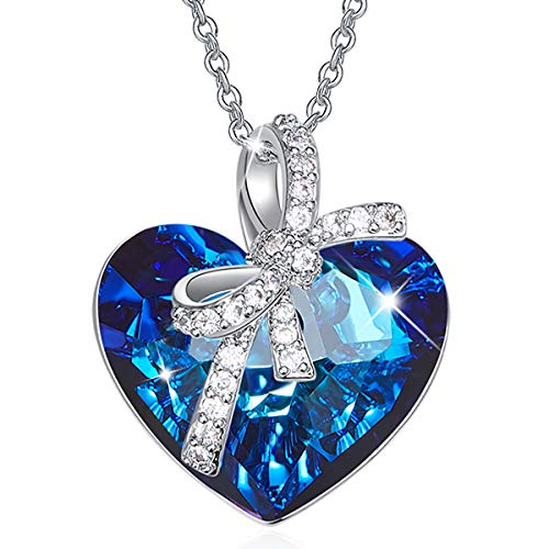 CRYSLOVE Blue Love Heart Crystal Pendant Necklace Crystals from Swarovski ♥Heart of The Ocean♥ Jewelry for Women White-Gold Plated Valentines Monther's Day Jewelry Gifts 16