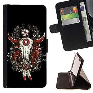 KingStore / Leather Etui en cuir / Samsung Galaxy Note 3 III / Enfriar Buffalo occidental Skull Dreamcatcher
