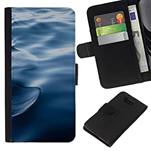 KLONGSHOP // Tirón de la caja Cartera de cuero con ranuras para tarjetas - Ondas Ondas de agua azul profundo del océano - Samsung ALPHA G850 //