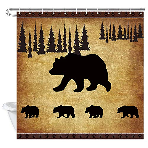 JAWO Animal Black Bear Shower Curtain, Rustic Cabin Wildlife Design, Mother Bear and Four Cute Baby Bears Bathroom Accessories Shower Curtains Fabric, 69x70 Inches (Wildlife Rods Curtain)