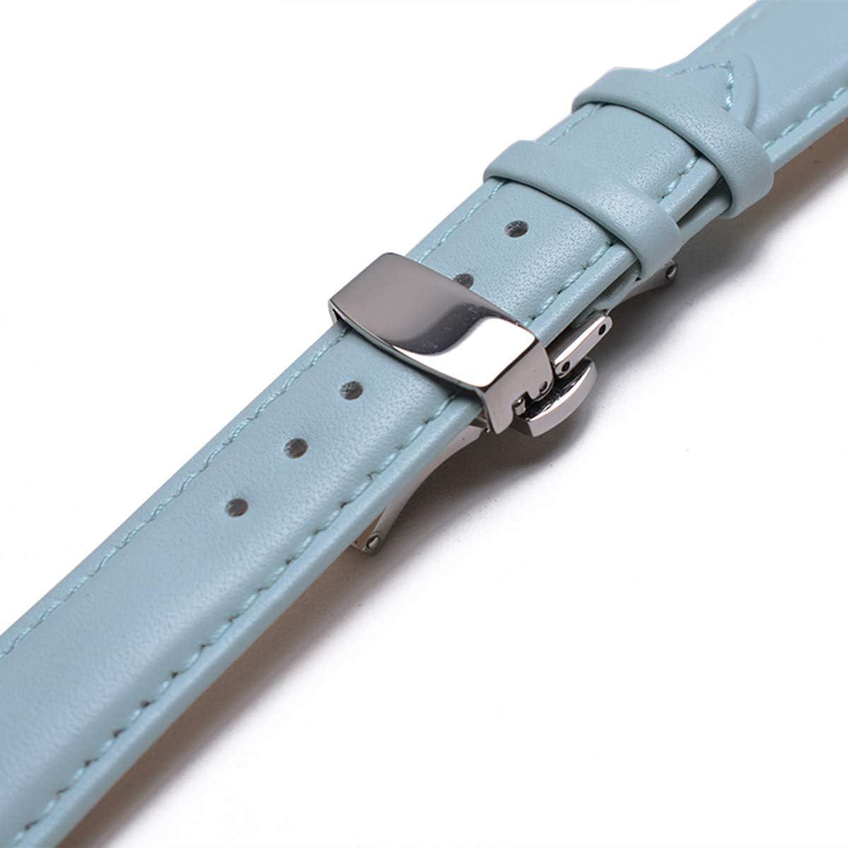 Bracelet en Cuir Femmes Bracelet 14mm 16mm 18mm 20mm Papillon Boucle Montre Accessoires Red Gold