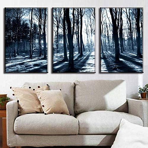 3ピース/セットアートキャンバス冬の森風景ツリーキャンバス、プリント装飾画像壁写真用リビングルーム50×70センチ×3ピース枠なし