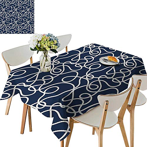 Atlantic Desk Maple (UHOO2018 Square/Rectangle Polyester Table Cloth Sea Atlantic Ocean spired Tangled Ship Mar Rop Image Navy Blue Wh Easy Care Spillproof,54 x102inch)
