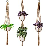 TimeYard Macrame Plant Hangers Set of 3 - Handmade Indoor Outdoor Hanging Planter Plant Holder - Modern Boho Home Decor