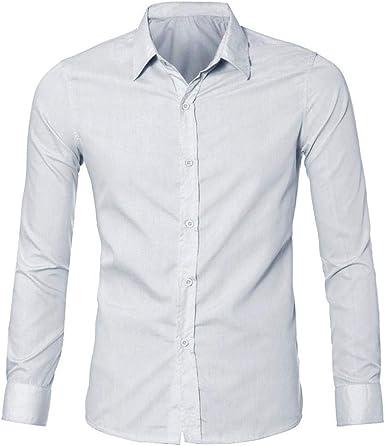 Camisa Mezcla de Algodon Hombre, Manga Larga, Slim Fit, Camisa ...