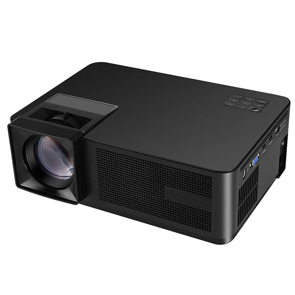 LiChenYao Projector Home HD 1080p Business Office Portable LED Projector Native Resolution-1280800 (Color : Black)