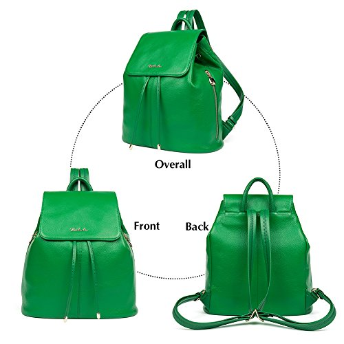 Ladies School Leather Casual Backpack Bag Purse Women Shoulder Rucksack Darkgreen College Handbags Newblue Bostanten YwUTFxIqw