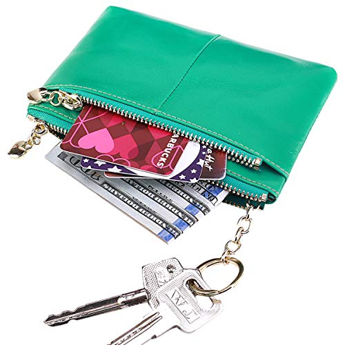 (Itslife RFID BLOCKING Triple Zipper Leather Mini Coin Purse Card Holder with Key Chain (Light Green))