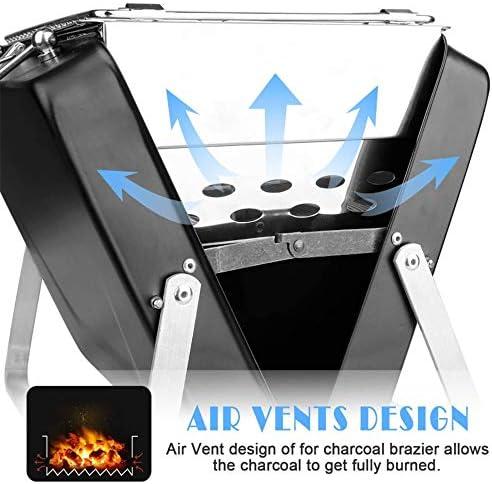 CMM Mini Folding Barbecue au Charbon, Amovible en Acier Inoxydable Portable, Peut accueillir 1-4 Personnes Petit, pour Pique-Nique Cuisine de Plein air Party (Noir)