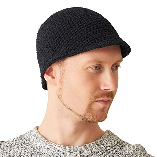 Mens Kufi Beanie Hat - Billed Skull Cap 100% Cotton Crochet Chemo Hat Womens Sensitive Skin Casualbox Black