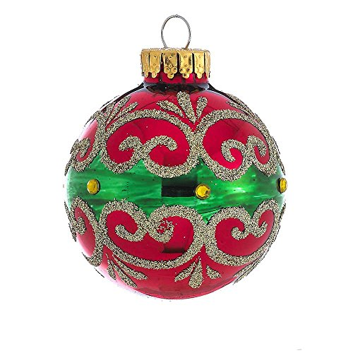 - Kurt Adler GG0652 60mm Shiny Red, Green, Gold Ball Ornament Set of 4