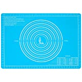 Silicone Pastry Mat Non Stick with Measurements Extra Large (25.4''×17.7'')for Non Slip Silicon Dough Rolling Baking Mat, Table/Countertop Placemats and Fondant/Pie Crust Sheet (1, skyblue)