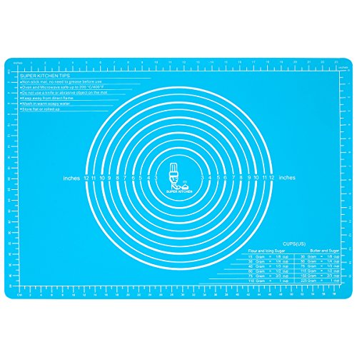 Silicone Pastry Mat Non Stick with Measurements Extra Large 25.4''17.7''for Non Slip Silicon Dough Rolling Baking Mat, Table/Countertop Placemats and Fondant/Pie Crust Sheet (1, skyblue)
