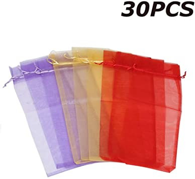25 Organza Bags Gift Pouches Jewellery Packaging Wrapping Wrap Mesh Drawstring