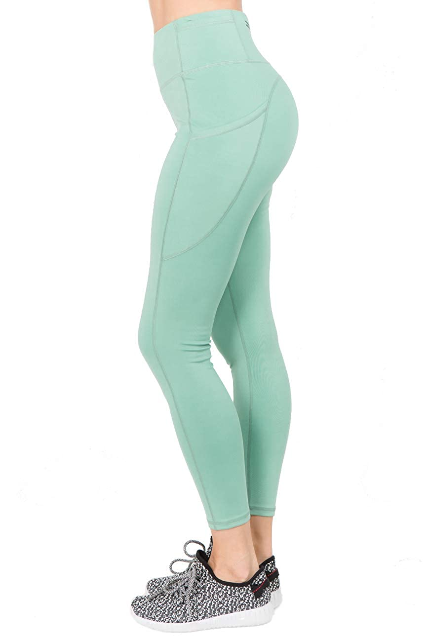 ICONOFLASH Womens Plus Size Dusty Jade High Waisted Leggings with Pockets - Tummy Control Active Yoga Workout Pants 3X-Large
