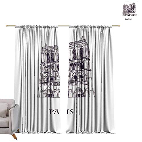 berrly Room Darkening Wide Curtains Landmark Building View with Street of Crete, Greece's Largest Island, Greece. W96 x L84 Thermal Insulating Blackout Curtain