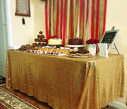 QueenDream Sparkly Sequin Tablecloth 50inx80in Gold Sparkly tablecloth Sequin Ceremony -