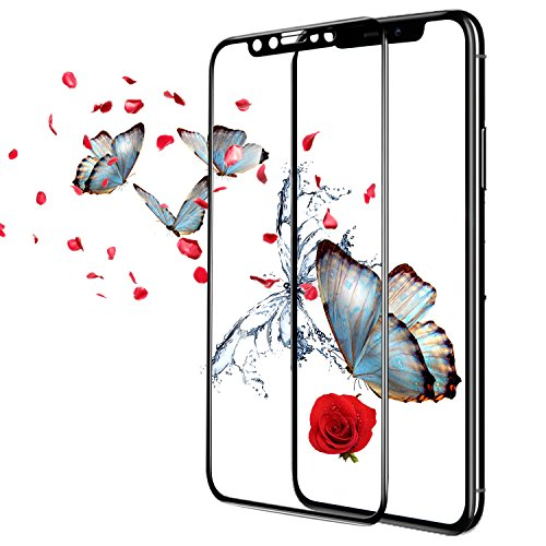 [ 2 Pack ] DONWELL iPhone X Tempered Glass Screen Protector 5D Curved Full Coverage Edge to Edge Sensitive Touch Anti Blue Light Anti Scratch Protective Cover for Apple iPhone X New 2017 Mod (Black)