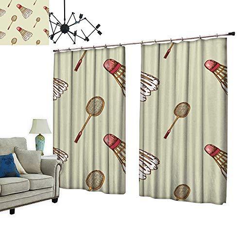 2 Panels Curtain with Hook backgroun Shuttlecock Badminton Racket Can Block Sunlight,W96.5 xL108 ()