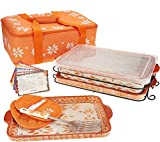 Temp-tations 13''x9'' 4 Quart Baker, Tote, 2 Stoneware Trays(Lid-It), Insulated Tote, Plastic Cover, Utensil, 2 Mitts (Old World Spice)