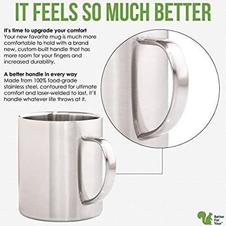 Set of 2 Mugs His /& Hers Coffee Mugs Stainless Steel Double Wall Freestyle Font