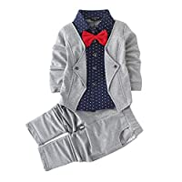 Hopscotch Boy's Cotton Blazer Navy Shirt and Pant Suit Set in Gray
