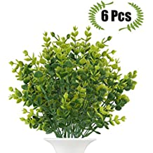 Artificial Boxwood (Pack of 6), The Bloom Times Fake Greenery Foliage Plants with total 42 stems for Wedding, Garden, Farmhouse outdoor decor in bulk wholesale