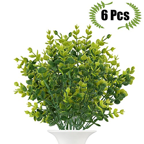 Artificial Boxwood (Pack of 6), The Bloom Times Fake Greenery Foliage Plants with total 42 stems for Wedding, Garden, Farmhouse outdoor decor in bulk (Outdoor Christmas Decorations Wholesale)