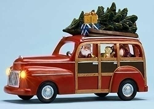 """9"""" Musical Lighted Red Station Wagon with Santa Claus Christ"""