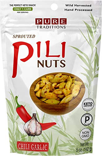 Sprouted Pili Nuts, Chili Garlic, 5 oz, Certified Paleo & Keto