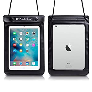 WALNEW Universal Waterproof eReader Protective Case Cover for Amazon Kindle Oasis/Paperwhite/Touch/Kindle Fire 7, Sony eBook Reader Wi-Fi, Kobo Touch,Nook Simple Touch, iPad Mini, Black