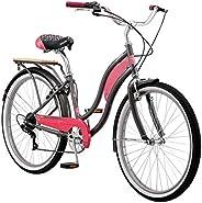 Kulana Lakona Tide 7-Speed Cruiser Bike, 26-Inch Wheels, Gray/Pink