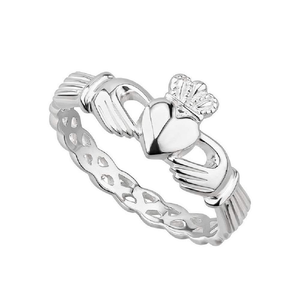 Failte Solvar Sterling Silver Claddagh Ring Woven Band Made in Ireland Size 10