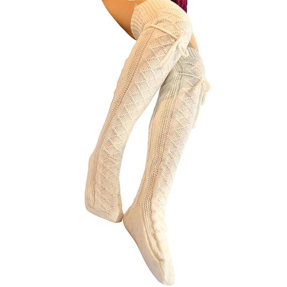 Calcetines de mujer de punto de muslo, QinMM medias calientes de invierno leggings (Blanco