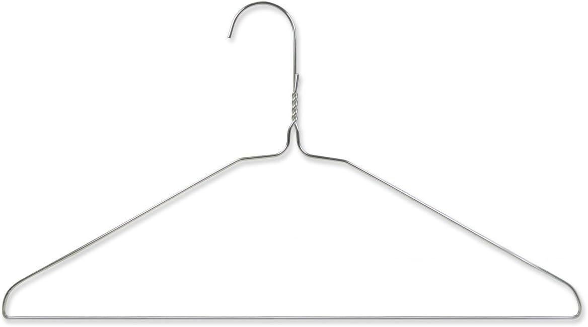 HANGERWORLD 20 Silver 16inch Metal Wire 13 Gauge Clothes Coat Garment Pants Bar Hangers