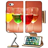 Luxlady Premium Apple iPhone 7 Flip Pu Leather Wallet Case IMAGE ID 859236 Glasses with drinks of various colours on biege background