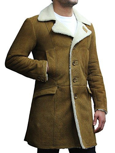 Brandslock Mens Luxury Spanish Merino Fur Sheepskin Belted Pea Coat Long Duffle Coat Ideal for Winter (2XL, Tan)
