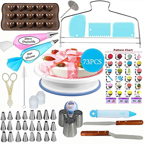 Cake Decorating Supplies Kit, FUNYU [73 PCS] Baking Tools for Beginners-1 Turntable stand-24 Numbered Icing Tips with Pattern Chart- 1 Cake Leveler-Straight & Angled Spatula-3 Russian Piping Nozzles