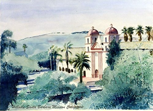 Watercolor painting in California - Giclee Print of Original plein air watercolor - Hillside View, Mission, Santa Barbara, California