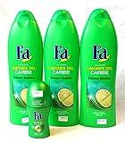 3 Fa Shower Gel Caribbean Lime 550 millileter with 1.7 Ounce Roll-on Deodorant