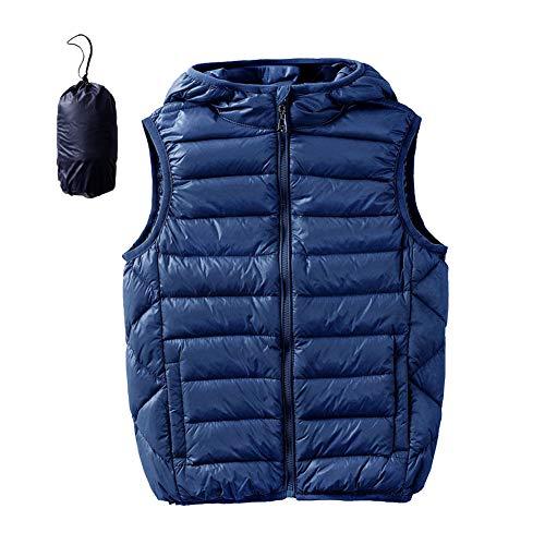 Hiheart Boys Girls Winter Down Vest Puffer Hooded Vests Navy 9/10