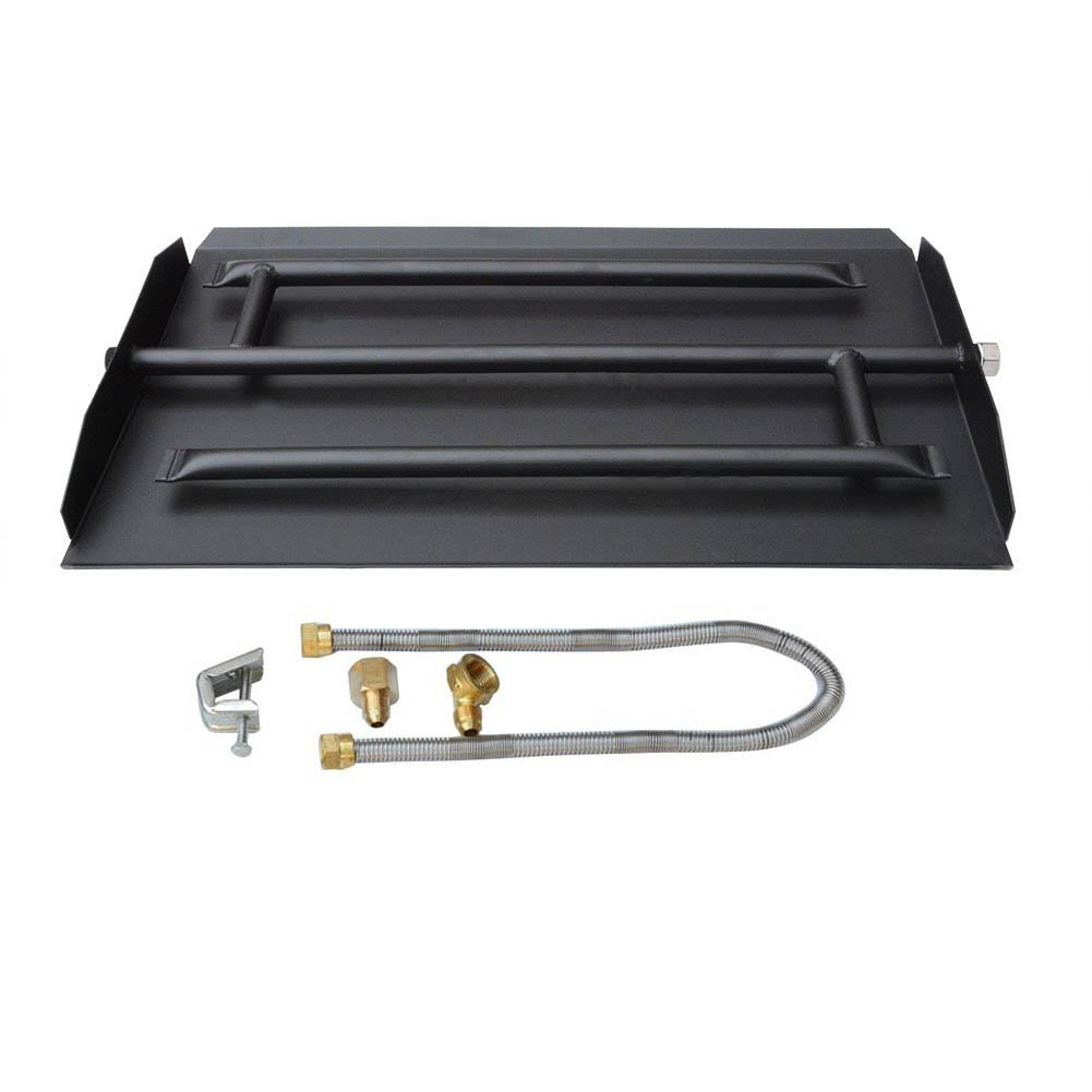 Stanbroil 22.5'' Natural Gas Powder Coated Steel Fireplace Triple Flame Pan Burner Kit